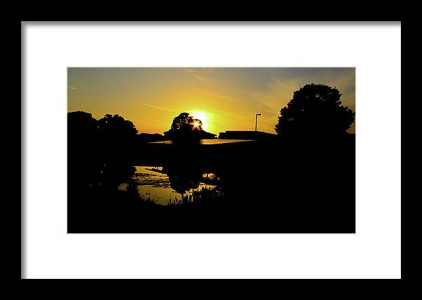 Landscape Framed Print featuring the digital art Sunset over Building by Daniel Cornell