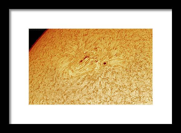 Sunspots Framed Print featuring the photograph Sunspot AR 2781 by Prabhu Astrophotography