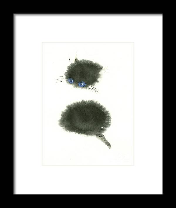 A Black Little Kitten Has A Big Surprise. This Is A Simple Contemporary Chinese Brush Painting On Rice Paper. Framed Print featuring the painting Surprised by Mui-Joo Wee