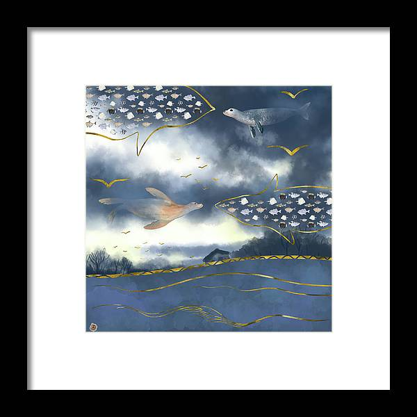 Clouds Framed Print featuring the digital art Surreal Snowstorm by Andreea Dumez