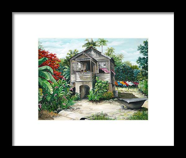 Landscape Painting Caribbean Painting House Painting Tobago Painting Trinidad Painting Tropical Painting Flamboyant Painting Banana Painting Trees Painting Original Painting Of Typical Country House In Trinidad And Tobago Framed Print featuring the painting Sweet Island Life by Karin Dawn Kelshall- Best