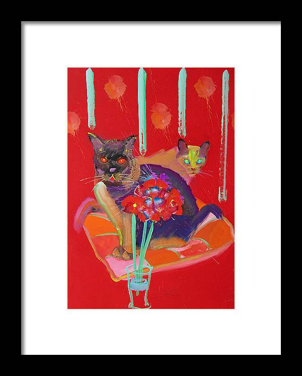 Burmese Cat Framed Print featuring the painting Symphony In Red Two by Charles Stuart