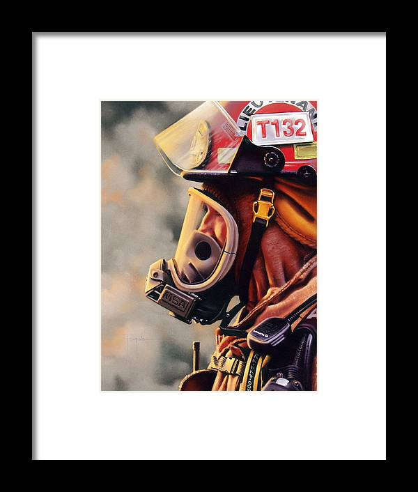 Fireman Framed Print featuring the pastel T-132 by Dianna Ponting