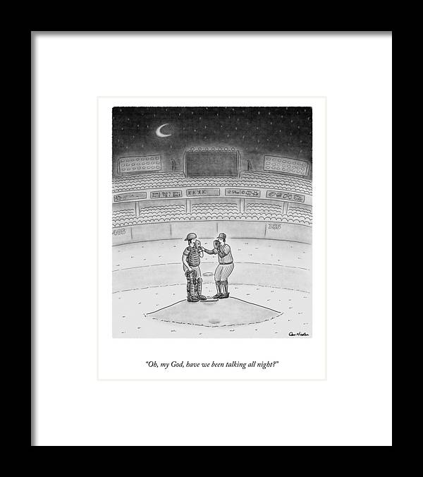 A25519 Framed Print featuring the drawing Talking All Night by Dan Misdea