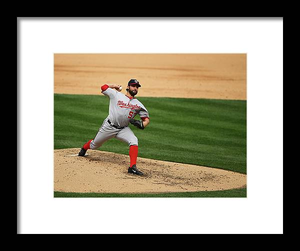 People Framed Print featuring the photograph Tanner Roark by Al Bello
