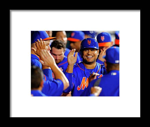 Second Inning Framed Print featuring the photograph Taylor Teagarden and Bobby Abreu by Rich Schultz