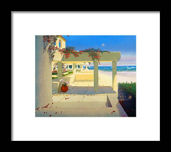 Patio By The Shore Framed Print featuring the painting Telos Mu Mural From The Accelerated Evolution Series by Loren Adams