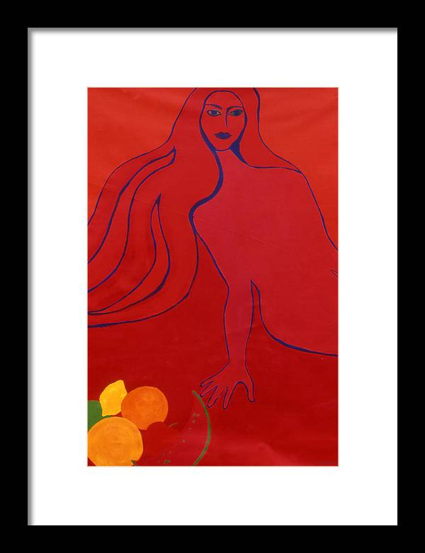 Figure Framed Print featuring the painting Temptation by Ingrid Torjesen