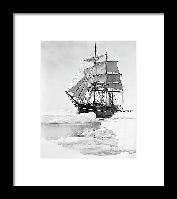1900s Framed Print featuring the photograph Terra Nova in Antarctic pack ice, 1910 by Scott Polar Research Institute