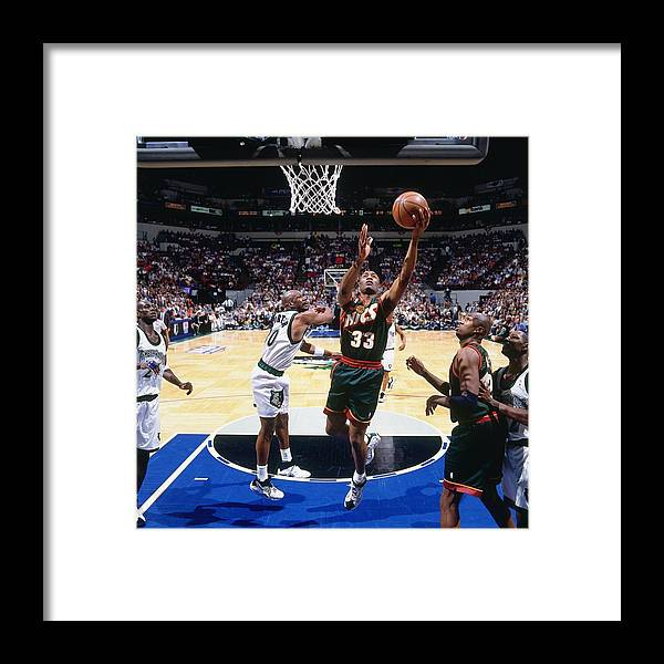 Nba Pro Basketball Framed Print featuring the photograph Terry Porter and Hersey Hawkins by Andy Hayt