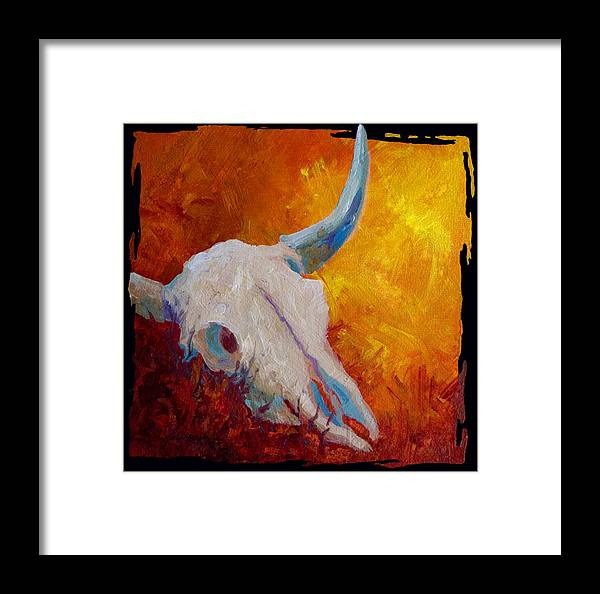 Longhorn Framed Print featuring the painting Texas Longhorn Skull by Marion Rose