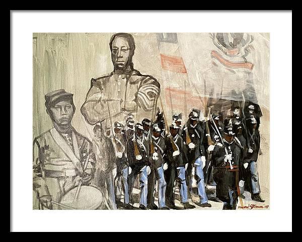 Black Civil War Regiment; Civil War; Black Infantry; Black Soldiers; All Black Infantry Regiments; 54th Massachusetts Infantry Regiment; 54 Massachusetts Framed Print featuring the painting The 54th Massachusetts by Howard Stroman
