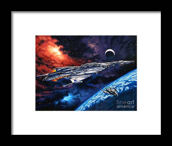 Space Ship Framed Print featuring the painting The Anprall by Stu Shepherd