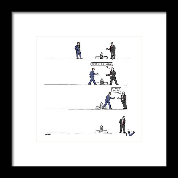 Captionless Framed Print featuring the drawing The Art of Political Compromise by Brendan Loper