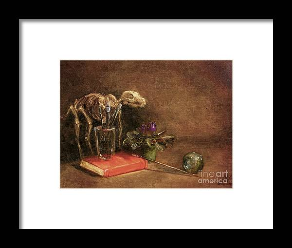 Dog Framed Print featuring the painting The Artist's Taboret- Cave Canum by Stella Violano
