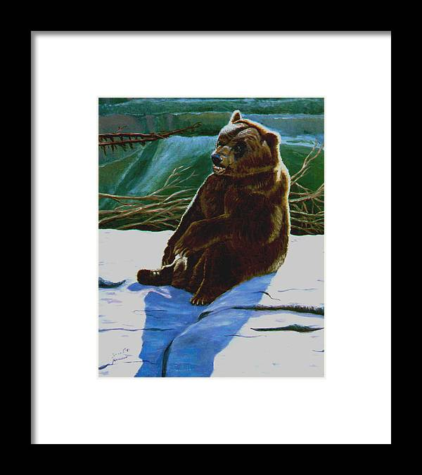 Original Oil On Canvas Framed Print featuring the painting The Bear by Stan Hamilton