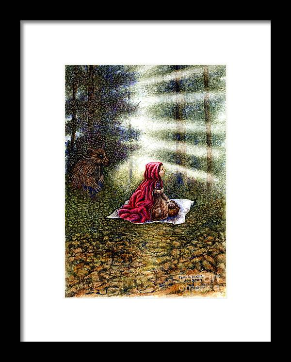 Girl In Forest Framed Print featuring the painting The Fate Of Little Red Riding Hood Part Two by Karen Wheeler