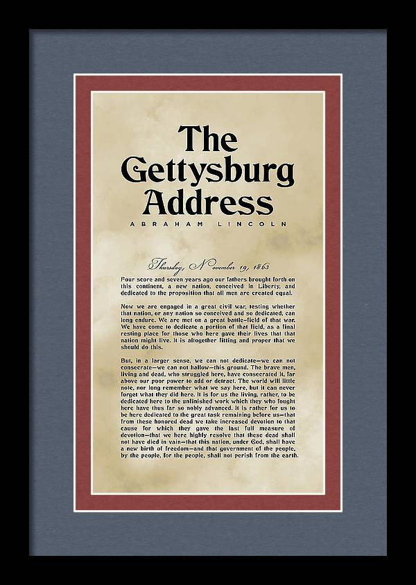 The Gettysburg Address Print - Abraham Lincoln Speech - American History Poster 03 by Studio Grafiikka