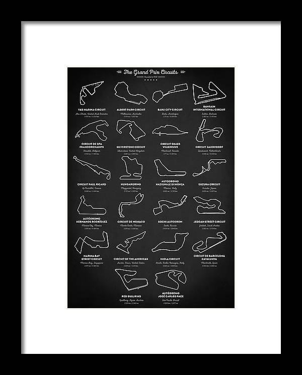 The Grand Prix Circuits Framed Print featuring the digital art The Grand Prix Circuits 2021 by Zapista OU