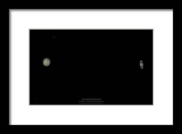 Framed Print featuring the photograph The Great Conjunction of Jupiter and Saturn by Prabhu Astrophotography