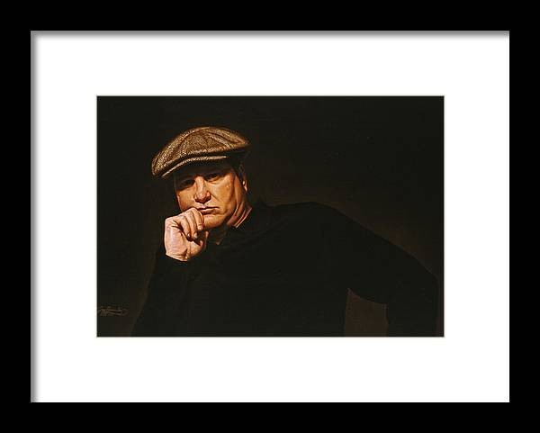 Seated Male Figure Framed Print featuring the painting The Irishman by Gary Hernandez