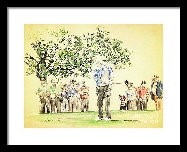 Arnold Palmer Framed Print featuring the painting The King under Magnolia by Olivera Cejovic