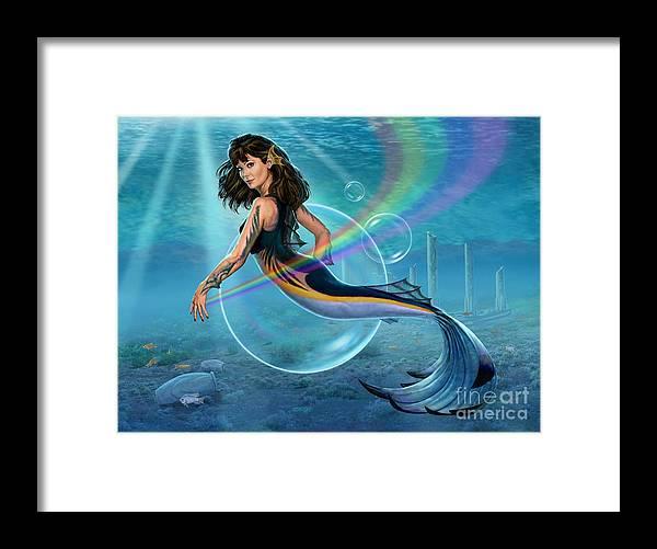 Mermaid Framed Print featuring the digital art The Mermadancer by Stu Shepherd
