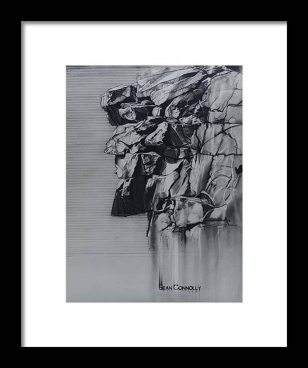 Charcoal Pencil Framed Print featuring the drawing The Old Man Of The Mountain by Sean Connolly