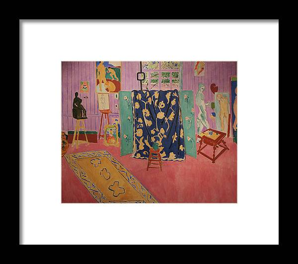 Henri Matisse Framed Print featuring the painting The Pink Studio by Henri Matisse