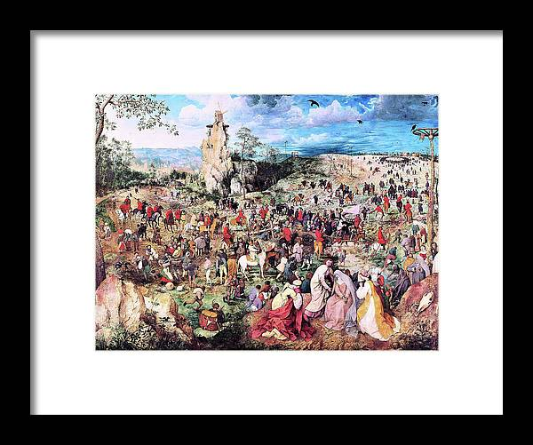 The Procession To Calvary Framed Print featuring the painting The Procession To Calvary - Digital Remastered Edition by Pieter Bruegel
