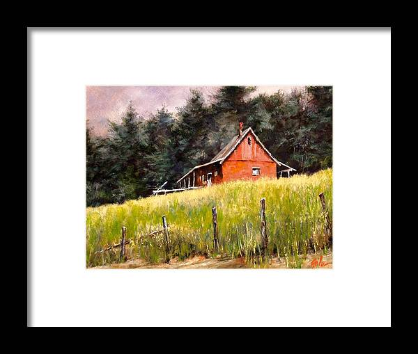 Landscape Framed Print featuring the painting The Red Coach Stop by Jim Gola