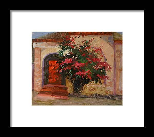 Catalina Island Ca Framed Print featuring the painting The Red Door - Catalina Island by Betty Jean Billups