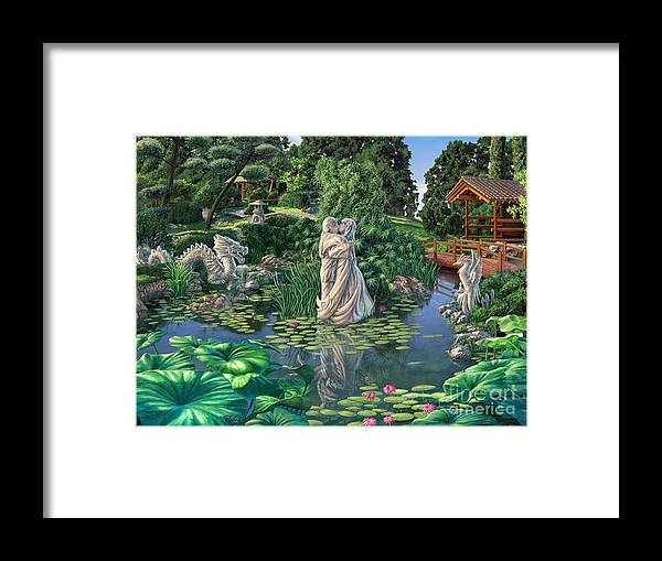 Oriental Garden Framed Print featuring the painting The Romance Garden by Stu Shepherd
