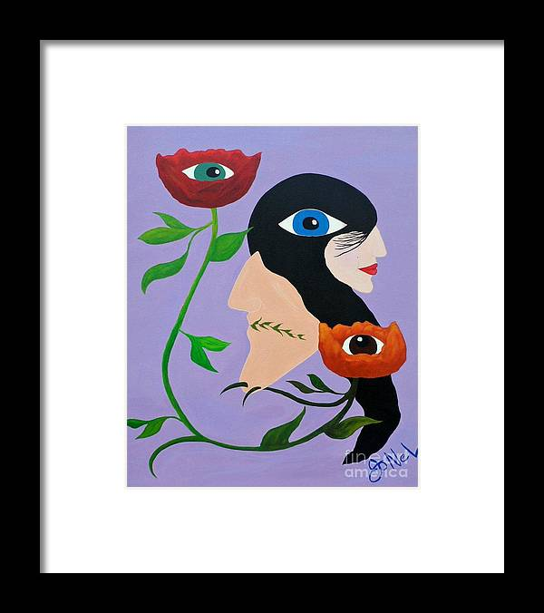 Abstract Framed Print featuring the painting The Same by JoNeL Art