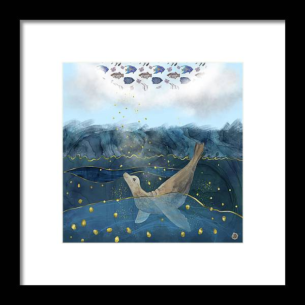 Global Warming Framed Print featuring the digital art The Sea Lion's Dream - Climate Change Reality by Andreea Dumez