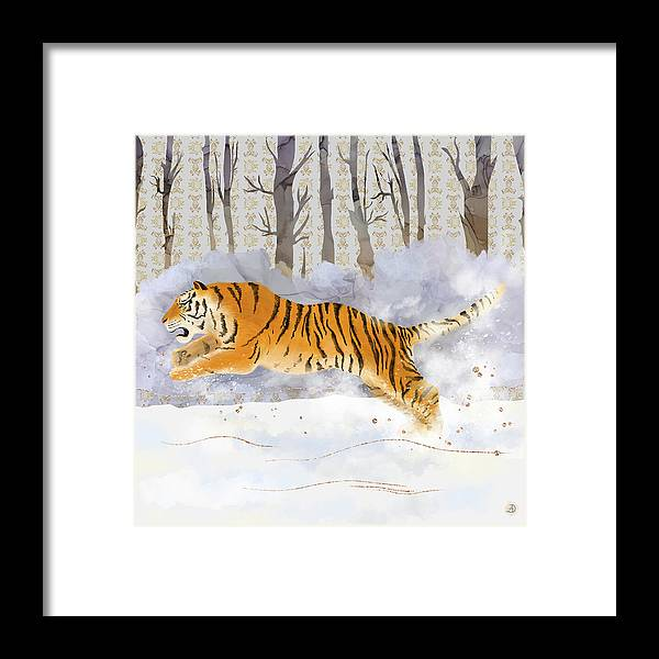 Siberian Tiger Framed Print featuring the digital art The Siberian Tiger Running in the Snow by Andreea Dumez