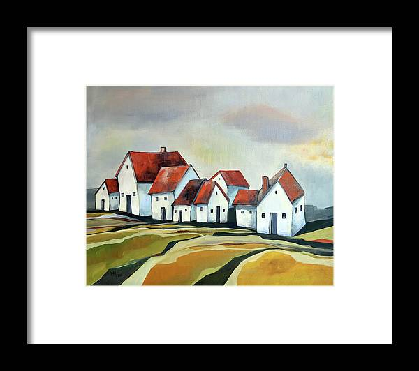 Village Framed Print featuring the painting The smallest village by Aniko Hencz