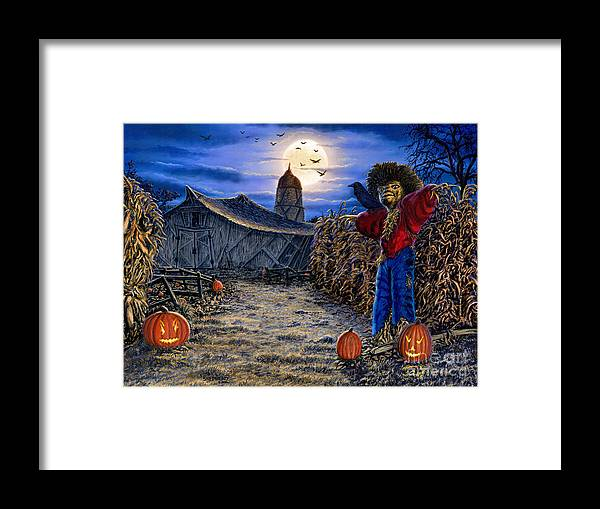 Halloween Framed Print featuring the painting The Spooky Scarecrow by Stu Shepherd