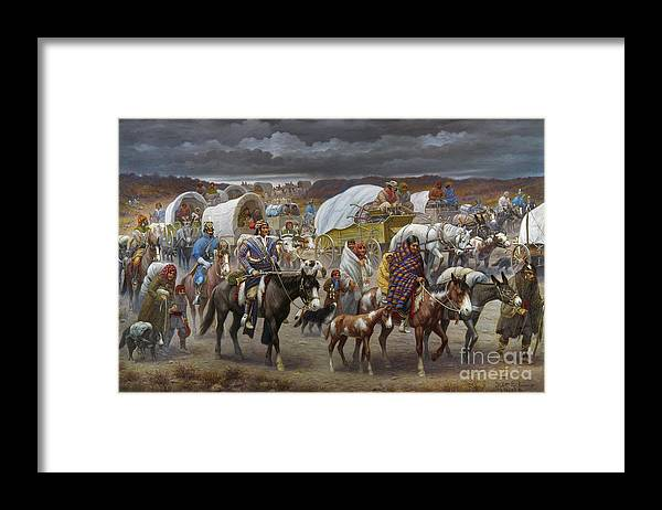 1838 Framed Print featuring the painting The Trail Of Tears by Granger