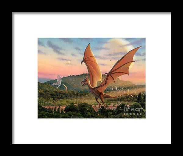 Dragon Framed Print featuring the painting The Training Fields by Stu Shepherd