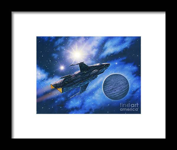 Spaceship Framed Print featuring the painting The Verrhawk At Jovox by Stu Shepherd