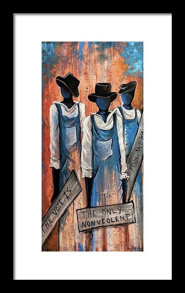 Framed Print featuring the painting The Vote by Sonja Griffin Evans