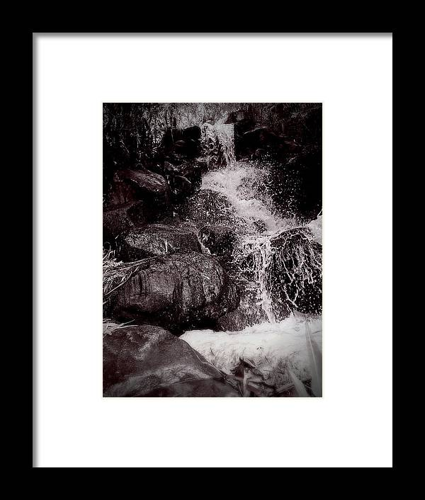 Non-urban Scene Framed Print featuring the photograph The waterfall splashing , Thailand tourism by Natthapol Bussai