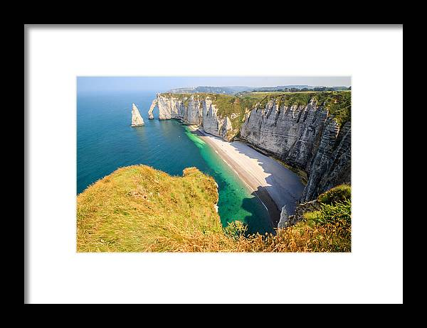 Shadow Framed Print featuring the photograph The white cliffs of Etretat, the alabaster coast by Frans Sellies