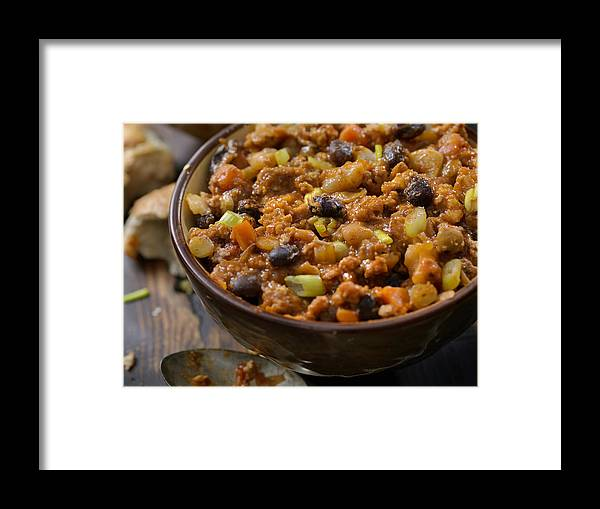 Cheese Framed Print featuring the photograph Three Bean Chili with Lentils by LauriPatterson