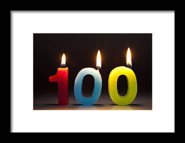 Celebration Framed Print featuring the photograph Three Candles In The Shape Of The Number 100 by Caspar Benson