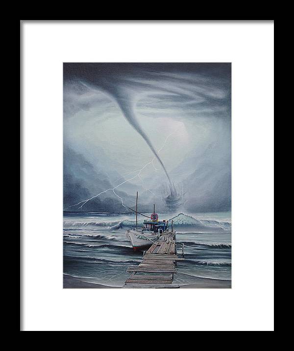 Seascape Framed Print featuring the painting Tifon   water sprout by Angel Ortiz