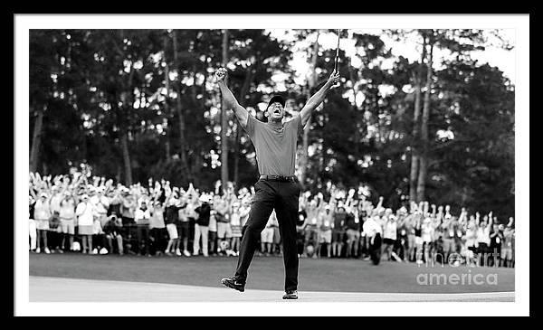 Tiger Woods Black White Win  by Jemmy Grey