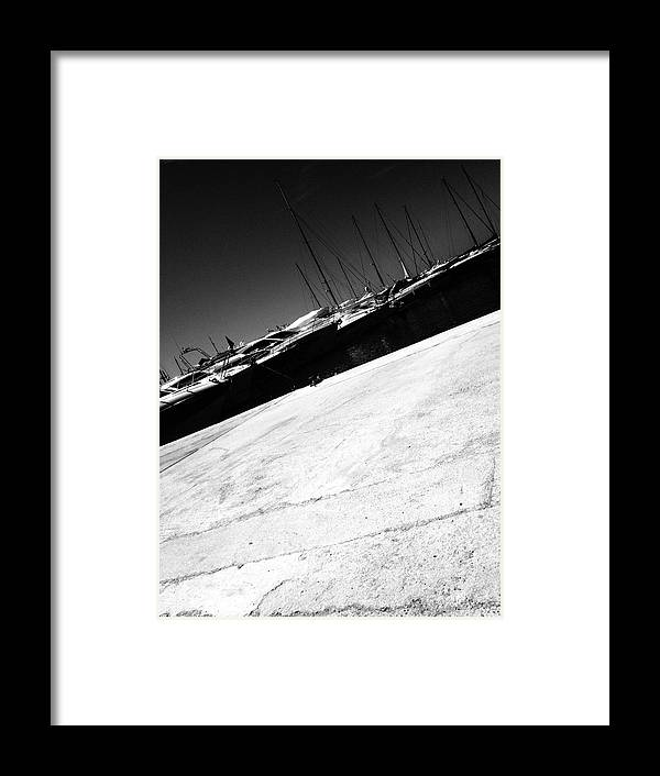 Outdoors Framed Print featuring the photograph Tilt Image Of Boats Moored At Harbor Against Sky by Frank Swertz / EyeEm