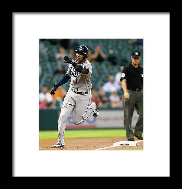 American League Baseball Framed Print featuring the photograph Tim Beckham by Bob Levey